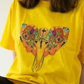 تيشرت أصفر - تصميم الفيل على الطراز البوهيمي