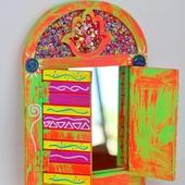 مرآة على شكل شباك - برتقالي و وردي نيون