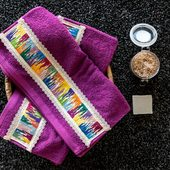 Set of Two Purple Embroidered Towel