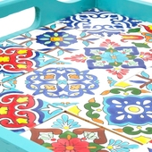 Large Tray with Handpainted Ceramics (Light Blue with assorted designs)