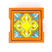 Handpainted Ceramic Coasters, set of 6 with holder (Orange with assorted designs)