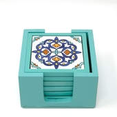 Handpainted Ceramic Coasters, set of 6 with holder (Light blue with assorted designs)