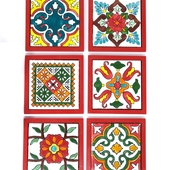 Handpainted Ceramic Coasters, set of 6 with holder (Red with assorted designs)