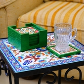 Handpainted Ceramic Coasters, set of 6 with holder (Green with assorted designs)