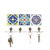 Decorative Key Hanger with Handpainted Ceramics (White)