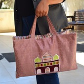 White Prayer Rug with Pink Accents and Carrying Bag