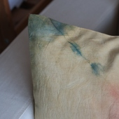 Hand dyed pillow (Pink,Brown & Blue)