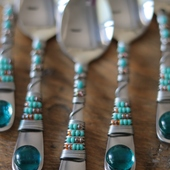 Beaded Spoon Set (Orange and Blue)