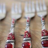 مجموعة أدوات مائدة - شوك عدد 6 -  لون خمري