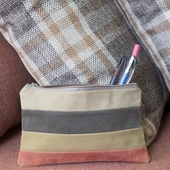 Striped Cosmetics Bag (Tan, Yellow, Pink and Brown)