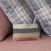 Striped Cosmetics Bag (Tan, Yellow, Pink and Brown)