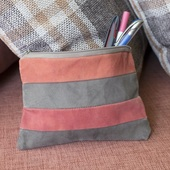 Striped Cosmetics Bag (Pink and Brown)