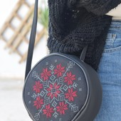 Circular Embroidered Purse: Black