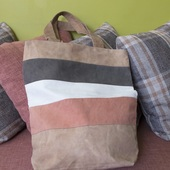 Striped Cloth Bag (Orange, Brown, Tan and White)