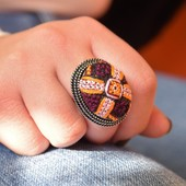 Embroidered Ring: Purple and Yellow