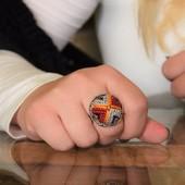 خاتم مطرز - بنفسجى وأحمر وأصفر