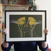 Black Painting with Gold Accents and Black Frame