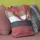Striped Cloth Bag (Pink, Brown, Tan and White)