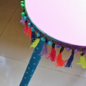 Hand-Painted Boho Side Table: Pink (Large)