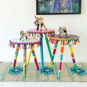 طاولة جانبية صغيرة ملونة بألوان بوهيمية مميزة - أبيض
