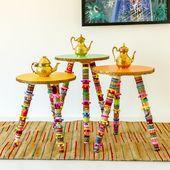 Eclectic Boho Side Table: Orange (Medium)