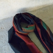 Black Scarf with Colorful Fringes