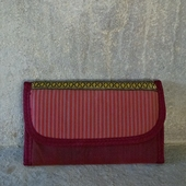 Fabric Wallet (Red with Striped Lid and Gold Accents)