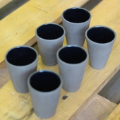 Dark Grey Porcelain Cup Set
