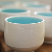 White + Light Blue Ceramic Cup Set
