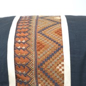 Hand-embroidered Cylinder Pillow Cover (Orange and blue)