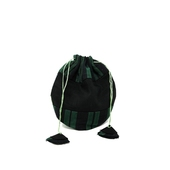 Hand-sewn Drawstring Purse (Black and Green)