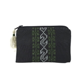 Hand-embroidered Change Purse (Black base, green & white detailing)