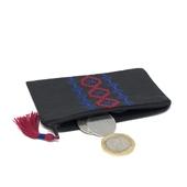 محفظة نقود قماشية بتطريز يدوي (زهري وأزرق داكن)