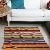Large Horizontal-Striped Carpet: Multicolor