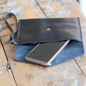Leather Clutch Bag: Black