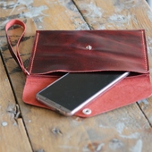Leather Clutch Bag: Red