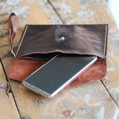 Leather Clutch Bag: Brown