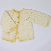 Crochet Baby Sweater: Yellow (Size 9-12 Months)