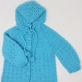 Crochet Baby Jacket: Blue (Size 12-18 Months)