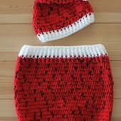 Crochet Baby Christmas Outfit (Size 0-3 Months)