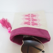 Embroidered Geometric Sunglasses Case in Pink