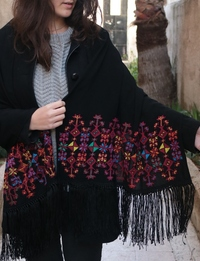 Black Embroidered Shawl: Multicolor