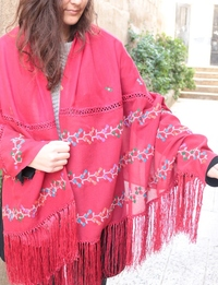Red Embroidered Shawl in Floral