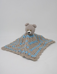 Teddy Bear Safety Blanket: Grey and Blue