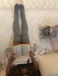Knee-High Knit Socks in Grey