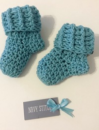 Baby Booties in Teal