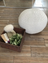 Small Pouf Chair in Grey