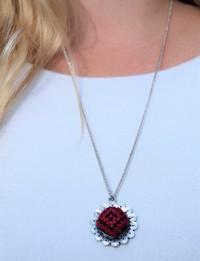 Embroidered Pendant Necklace: Red and Black