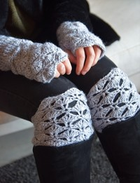 Mittens and Boot Toppers in Grey
