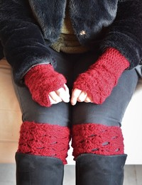 Mittens and Boot Toppers in Red